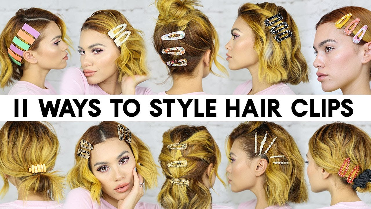 11 EASY Ways To Style HAIR CLIPS For Short Hair (Braidless)